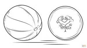 Desenho de Melão e Seu Corte Transversal para colorir ...