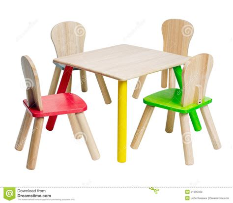 wooden table  chairs toys  kid stock photo image