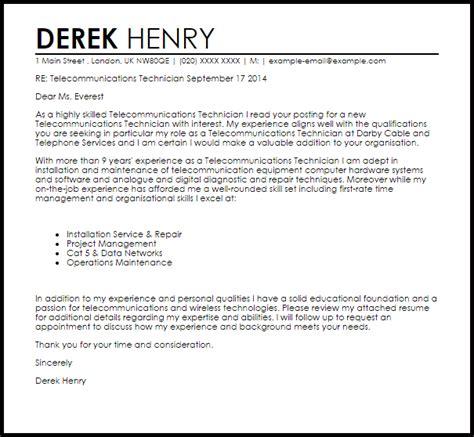 Telecommunications Technician Cover Letter Sample | LiveCareer