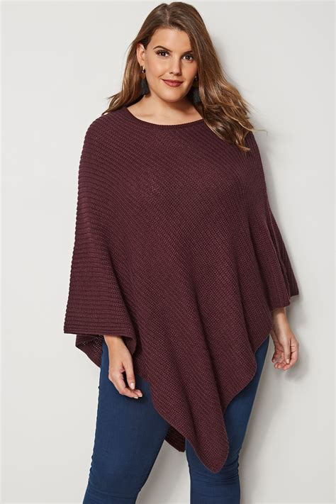 burgundy knitted poncho plus size to 32