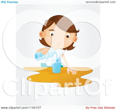 cartoon   thirsty brunette girl pouring water royalty  vector clipart  graphics rf