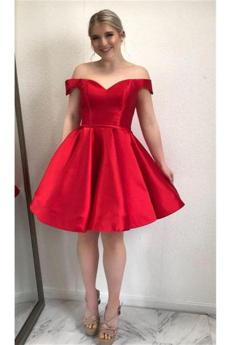 Sparkly Off The Shoulder Lace Up Simple Classy Red ...