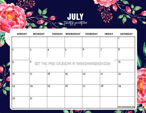July 2017 Calendar Printable Org