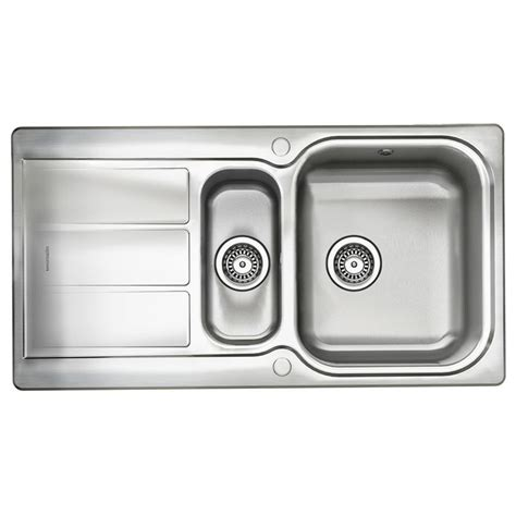 1 5 bowl kitchen sink rangemaster glendale 1 5 bowl stainless steel kitchen sink 3792