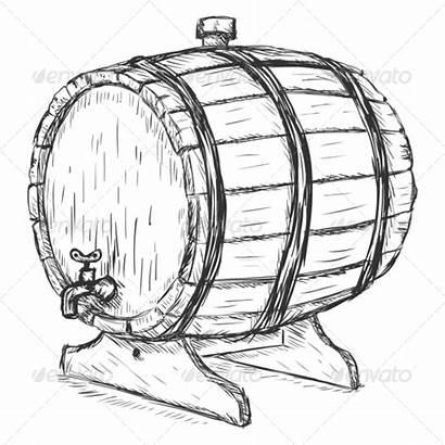 Barrel Wine Clipart Sketch Wooden Vector Beer