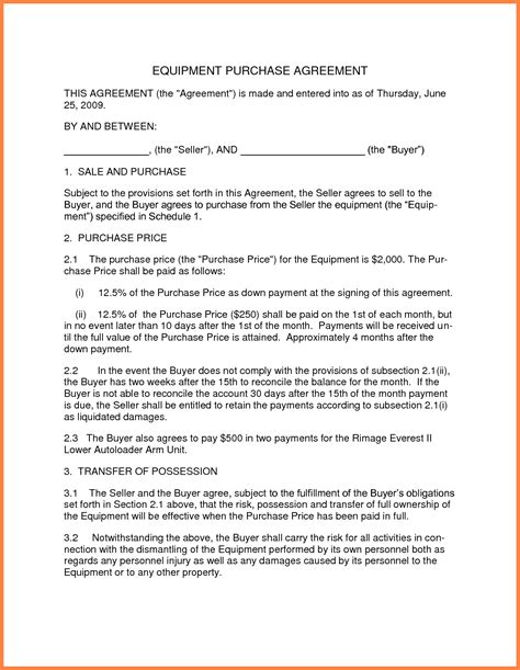 business sale  purchase agreement template