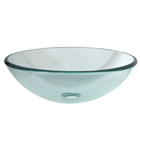 glass sink kingston brass round glass vessel sink in clear hevspcc1 the home depot