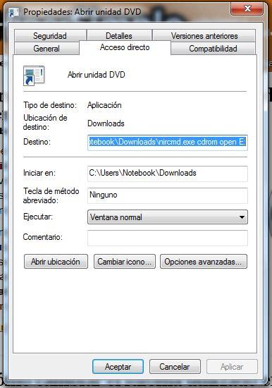 windows 7 crear accesos directos para abrir o cerrar la