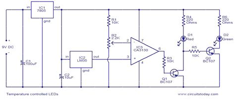 temperature controlled leds electronic circuits and