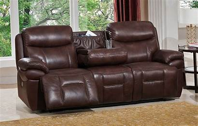 Sofa Power Reclining Leather Brown Genuine Recline