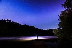 Download Wallpaper Starry sky, Silhouette, Stars, Night ...