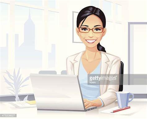 but ordinateur de bureau illustrations et dessins animés de secrétaire