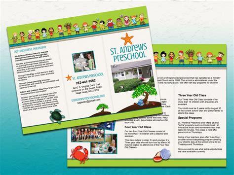 preschool brochure ideas st preschool trifold brochure bold print design 582
