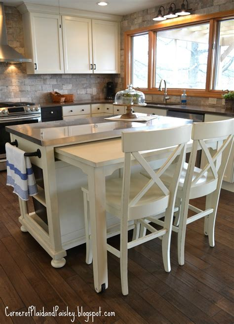 kitchen island with seating for 3 corner of plaid and paisley kitchen before and after reveal