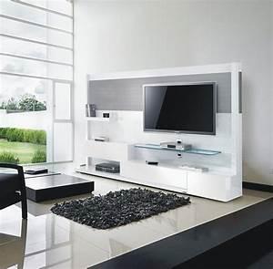 Meuble Tv Mural Blanc Et Inox 240 Cm Miraz 04 Meuble Design