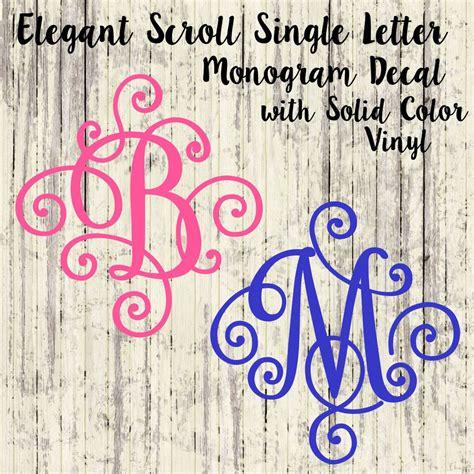 single letter monogram decal elegant scroll monogram solid color monogram monogram decal