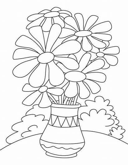 Coloring Pot Flower Daisy Printable April Month