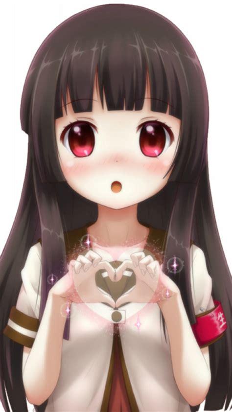 lovely black hair anime girl wallpaper  iphone