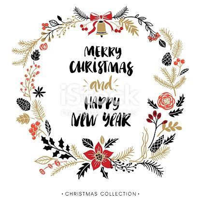happy  year  merry christmas greeting wreath