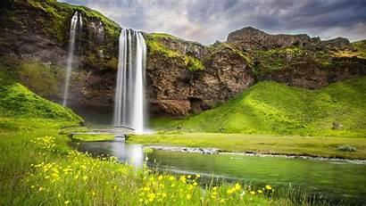 Landscape Summer Waterfall River 1152 2048 Landscapes
