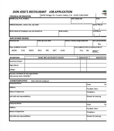 printable job application template   word