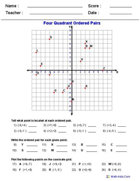 four quadrant ordered pair worksheets math