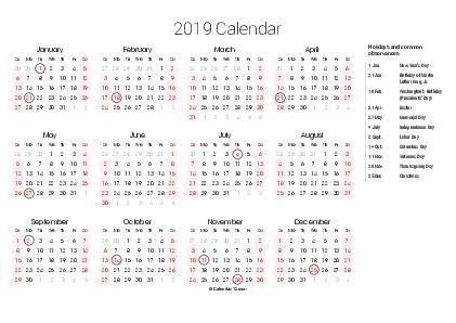 2020 Calendar Printable Free PDF Holidays