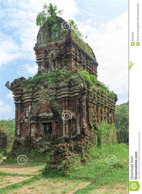 ruined temple   ancient champa stock image image