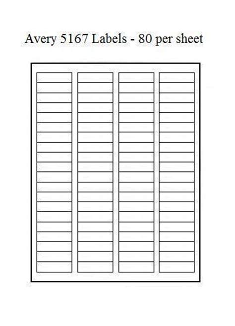 Label Template 80 Per Sheet by Avery 5167 Labels Ebay