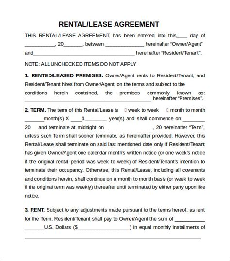 sample rental lease agreement   documents   word