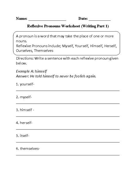 reflexive pronouns worksheets writing reflexive pronouns