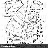 Paragliding Windsurfing sketch template