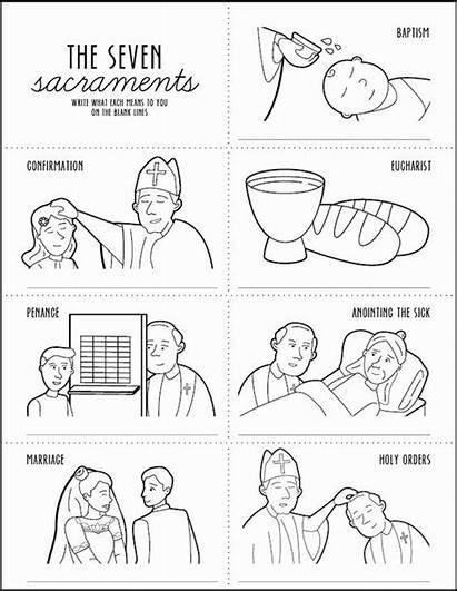 Catholic Sacraments Mass Worksheet Coloring Order Seven