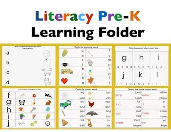 literacy preschool learning folder by jady alvarez tpt