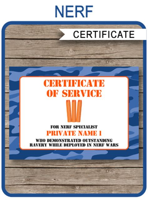 nerf war certificate template nerf birthday party favors