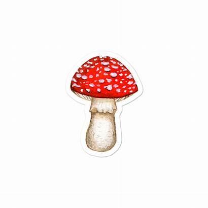 Amanita Stickers Muscaria Transparent Sticker Mockup Mushroom
