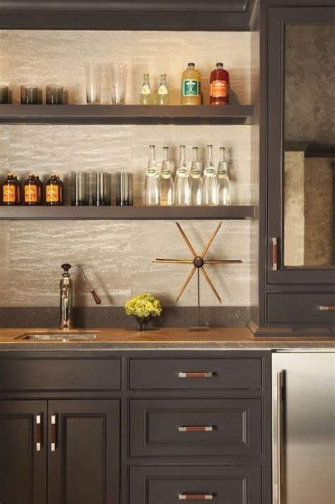 Built In Bar Cabinets by Built In Bar Gray Cabinets Open Shelving Leather