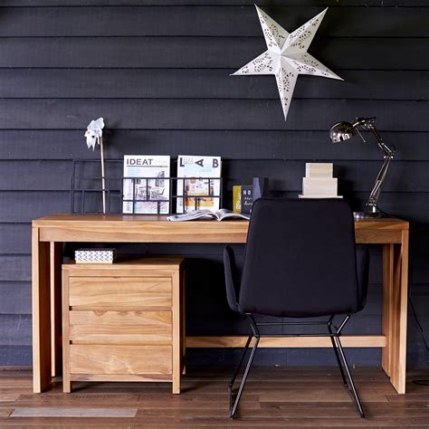 bureau informatique bois massif bureau en teck meuble informatique avec caisson pc