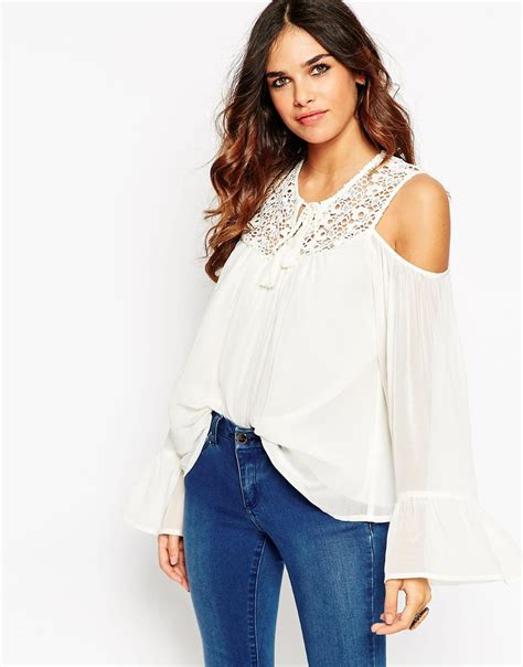 cold shoulder blouses asos cold shoulder lace insert top in white ivory lyst