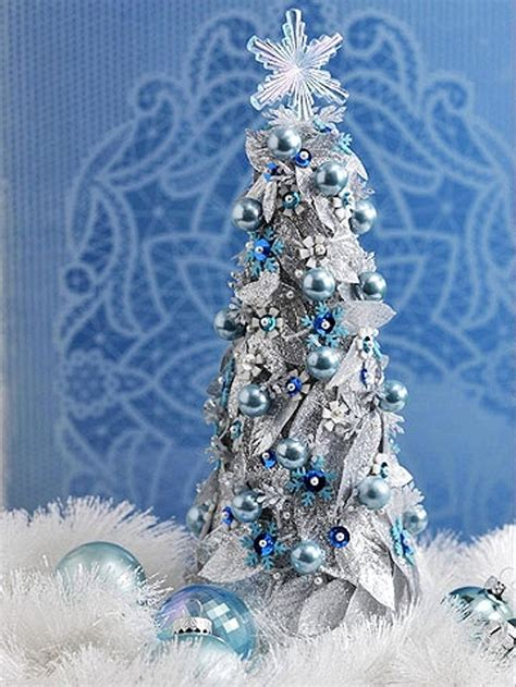 craft a blue and silver christmas tabletop tree