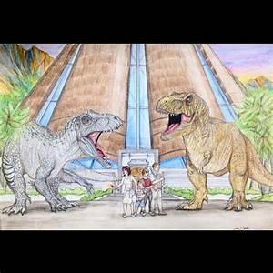 Jurassic World - Indominus Rex vs Tyrannosaurus Rex fight ...