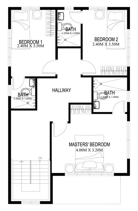 3 Bedroom Floor Plan In Philippines by Two Story House Plans Series Php 2014004