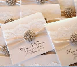 wedding invites cheap ivory lace wedding invitations embellished with rhinestone brooch