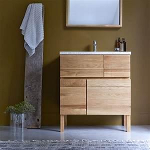 Meuble en chne et vasque rsine easy solo vente meubles for Support meuble salle de bain