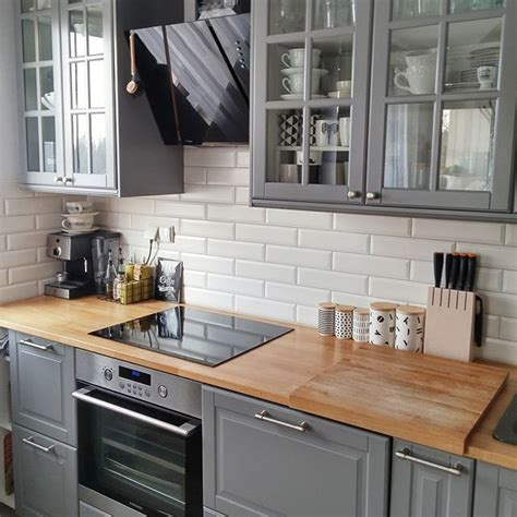 gray wood kitchen cabinets bodbyn ikea gray lower cabinets kitchen pinterest