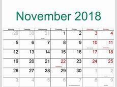 November 2018 Calendar with Holidays Free Template