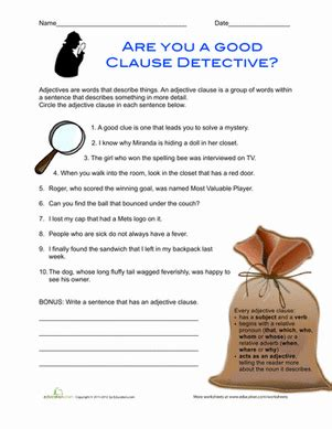 adjective clauses worksheet education com
