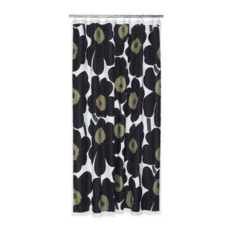 marimekko black unikko polyester shower curtain