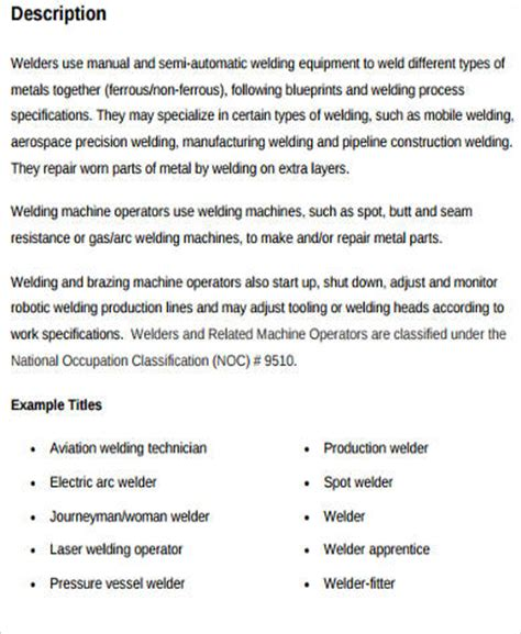 Welding Description Resume by Sle Welder Description 9 Exles In Word Pdf