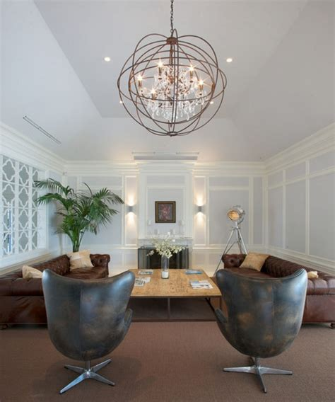 high ceiling living room with chandelier living room